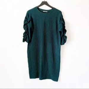 Zara  Green Crepe Ruched Sleeve Shift Dress S